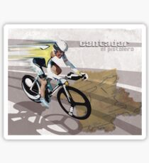 retro cycling poster Contador El Pistolero Sticker
