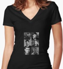 Dean Winchester Profile Edit Women's Fitted V-Neck T-Shirt