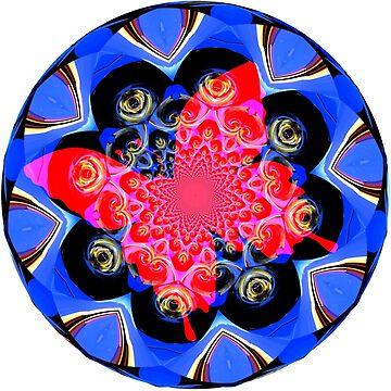 Red Butterfly on Kaleidoscope, Mandala, Chakra by deleas