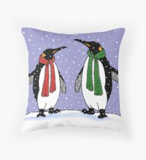 Penguin Couple in Snow, Hand Drawn, Whimsical Art Throw Pillow