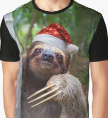 Christmas animal sloth wearing santa hat Graphic T-Shirt