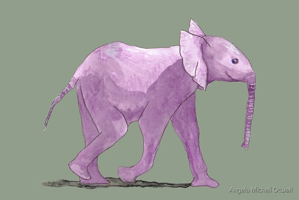 Happy Purple Pachyderm by Angela Micheli Otwell
