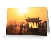 Hove seafront at sunset Greeting Card