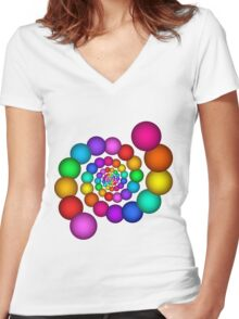 Beautiful Rainbow Sphere Spiral Women's Fitted V-Neck T-Shirt