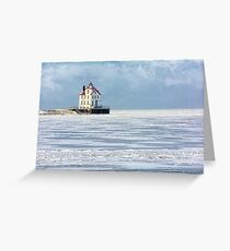 Lorain Lighthouse in Winter Greeting Card