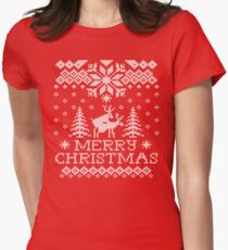 Ugly Sweater - Reindeer Humping Womens Fitted T-Shirt