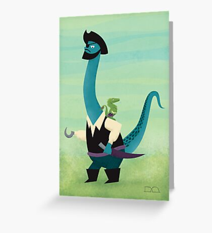 Captain Salty the pirate dinosaur Greeting Card