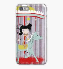 Carousel ribbon striped lighting bugs colorful whimsical streaks magic ride doll print iPhone Case/Skin