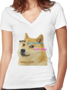 Doge T-Shirt Women's Fitted V-Neck T-Shirt