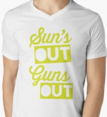 Suns Out Guns Out Mens V-Neck T-Shirt