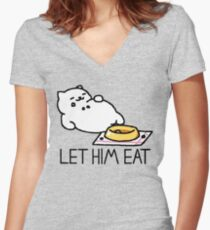 Neko Atsume - Let Him Eat Women's Fitted V-Neck T-Shirt