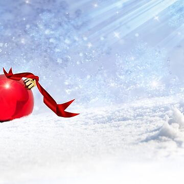 Christmas Background With Red Bauble In The Snow by savage1