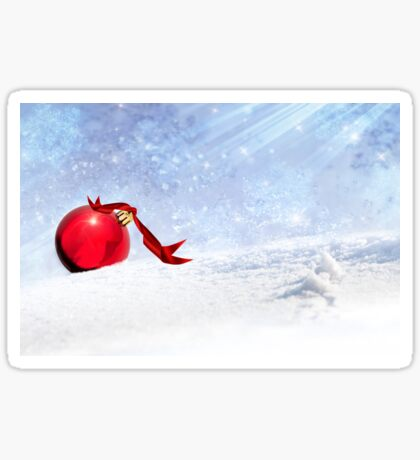 Christmas Background With Red Bauble In The Snow Sticker
