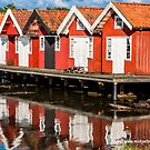 Red Boathouses in Fiskebackskil by Michael Brewer