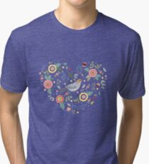 Romantic bird with flowers in vintage style Tri-blend T-Shirt
