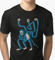 City hipster blue monkey Tri-blend T-Shirt