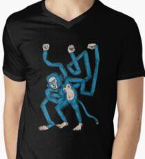 City hipster blue monkey Men's V-Neck T-Shirt