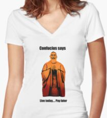 Confucius Women's Fitted V-Neck T-Shirt
