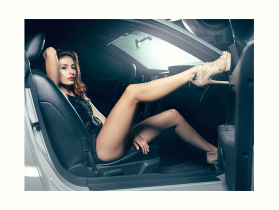 sexy young woman sitting in a car art photo print art prints by artnudephotos redbubble. Black Bedroom Furniture Sets. Home Design Ideas