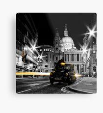 St Pauls London with Black cab Metal Print