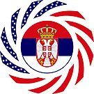Serbian American Multinational Patriot Flag Series by Carbon-Fibre Media