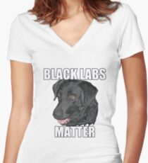 Black Labs Matter Two Women's Fitted V-Neck T-Shirt
