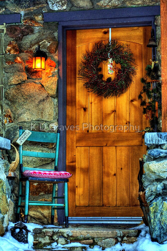 Country Cottage Door At Christmas by K D Graves Photography