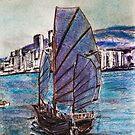 Chinese Junk Hong Kong Harbor 1969 by David M Scott