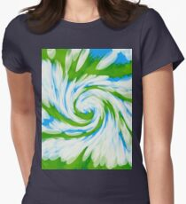 Groovy Green Blue Swirl Womens Fitted T-Shirt