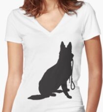 Shepherd with Leash Women's Fitted V-Neck T-Shirt