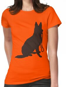 Shepherd with Leash Womens Fitted T-Shirt