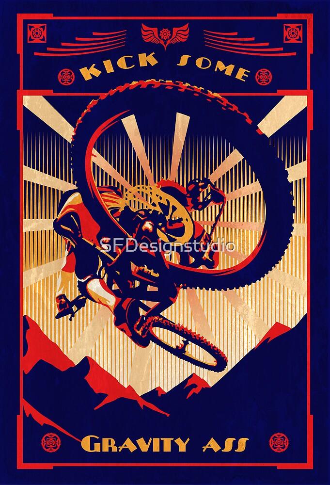 retro mountain bike poster: kick some gravity ass by SFDesignstudio