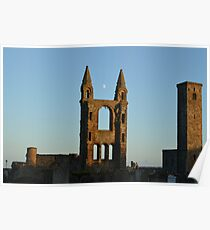 Moon Over St Andrews Cathedral Poster