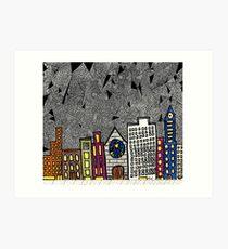 Big City Snow Fall Art Print