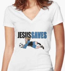 Jesus Saves Women's Fitted V-Neck T-Shirt