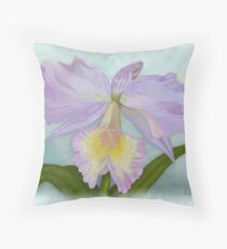 Cattleya Orchid Print Throw Pillow