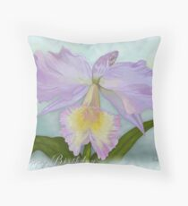 Cattleya Orchid Happy Birthday Greeting Card Throw Pillow