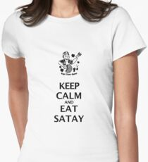 Keep Calm and Eat Satay (black) Women's Fitted T-Shirt