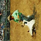 Rodeo Calf Roped Abstract Impressionism by pjwuebker