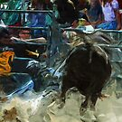 Rodeo Bull Riding Abstract Impressionism by pjwuebker