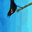 Red-Winged Blackbird Singing Abstract Impressionism by pjwuebker
