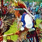 American Indian Pow Wow Dancer Abstract Impressionism by pjwuebker
