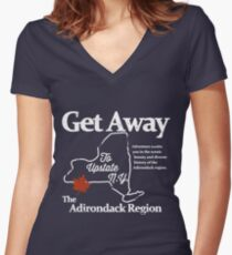 Get Away To Upstate New York Women's Fitted V-Neck T-Shirt