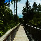 Footbridge Over Canyon Abstract Impressionism by pjwuebker