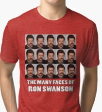 The Many Faces of Ron Swanson Tri-blend T-Shirt