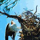 Osprey On Nest Abstract Impressionism by pjwuebker