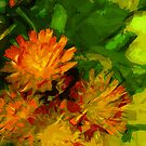 Orange Hawkweed Blossoms Abstract Impressionism by pjwuebker