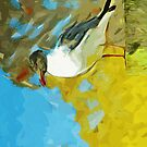 Laughing Gull on Pier Abstract Impressionism by pjwuebker