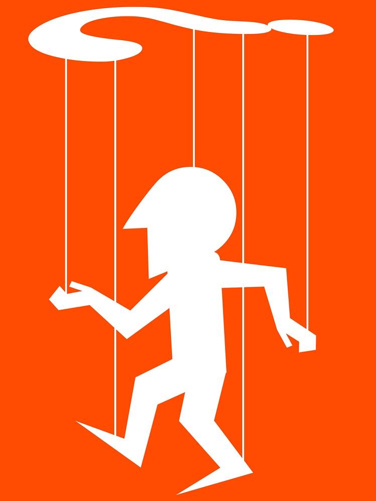 Puppet of Doubt [light design for dark t-shirt] by bridge8
