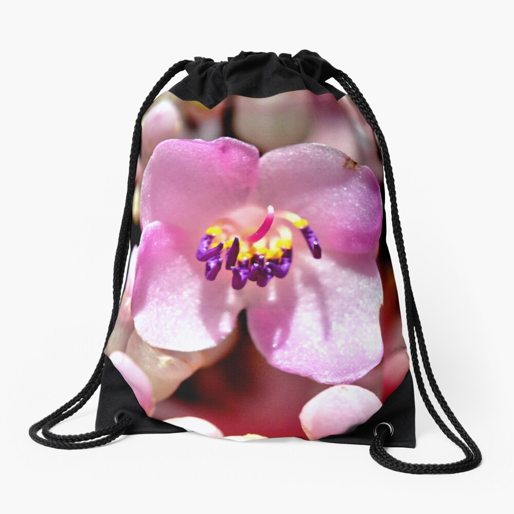 Lone Pink Flower Bloom  Drawstring Bag Front